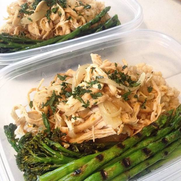 Cuban-inspired chicken with brown rice, pan grilled asparagus and broccolini.